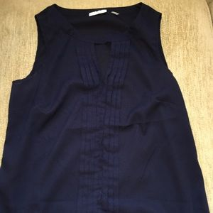 NEW YORK & COMPANY Sleeveless Navy Blouse, Ruffles